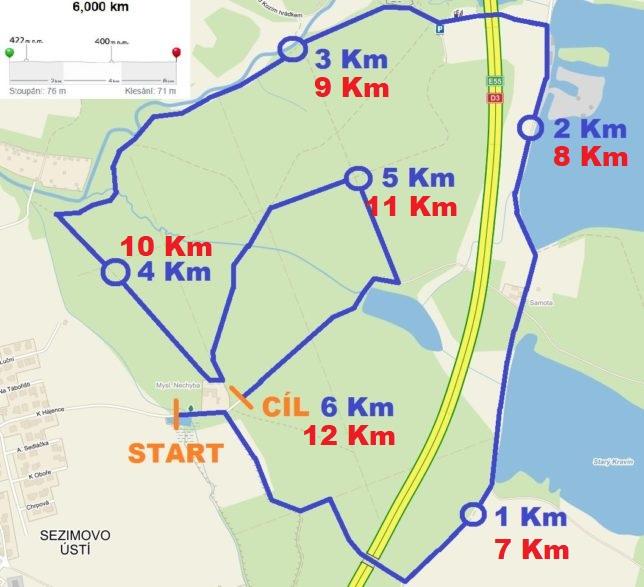 Mapa závod Sezi Run